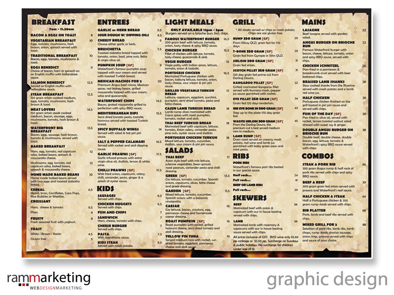 Graphic Design - Restaurant Menu Design