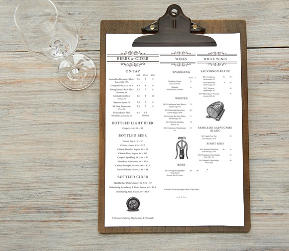 Restaurant menu graphic design Sydney